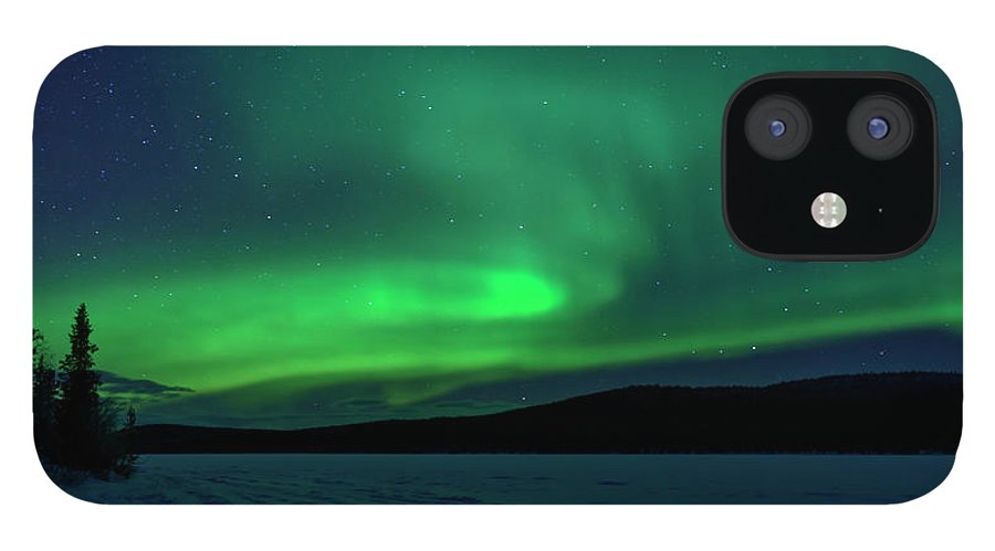 Snow iPhone 12 Case featuring the photograph The Green Light Of The Aurora by Dave Moorhouse