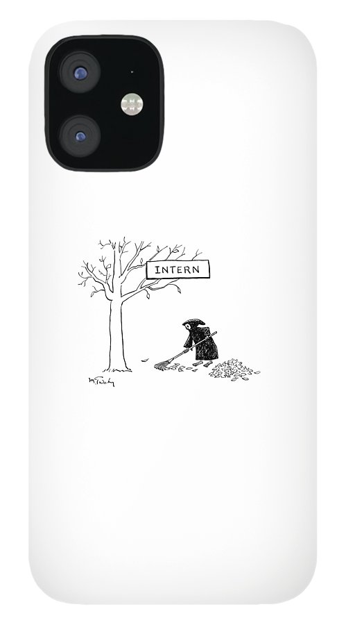 The Grim Reaper Rakes Up A Pile Of Leaves iPhone 12 Case