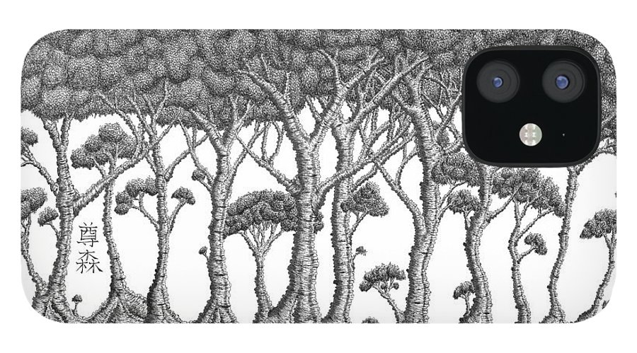 Tree IPhone 12 Case featuring the drawing The Grove by Robert Fenwick May Jr