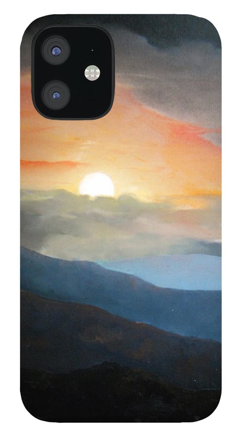 Oil iPhone 12 Case featuring the painting The highest point by Sergey Bezhinets