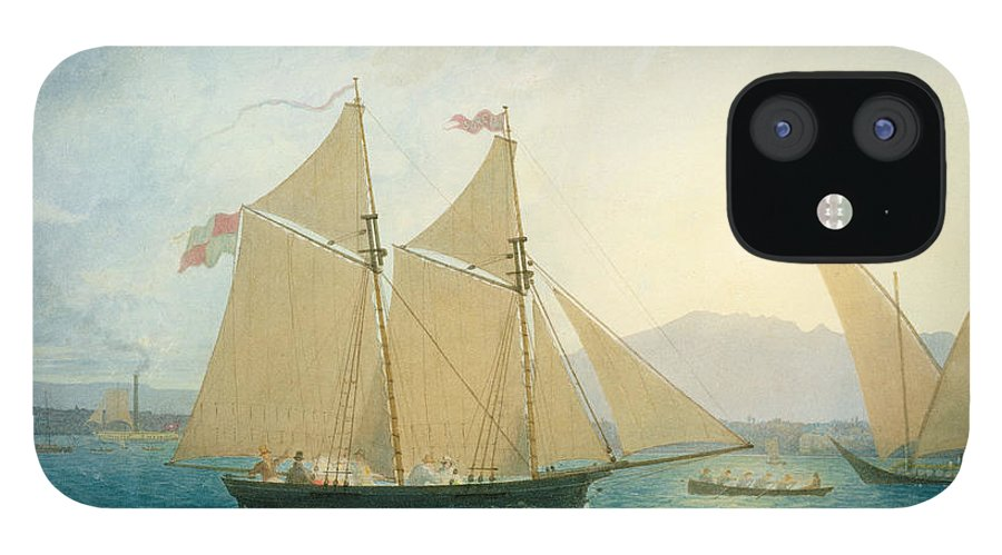 Boat; Boats; Sails; Sailing; Rowing; Flag; Yacht; Yachting; Boating; Mountains; Swiss City; Switzerland; Launching IPhone 12 Case featuring the painting The Launch La Sociere on the Lake of Geneva by Francis Danby