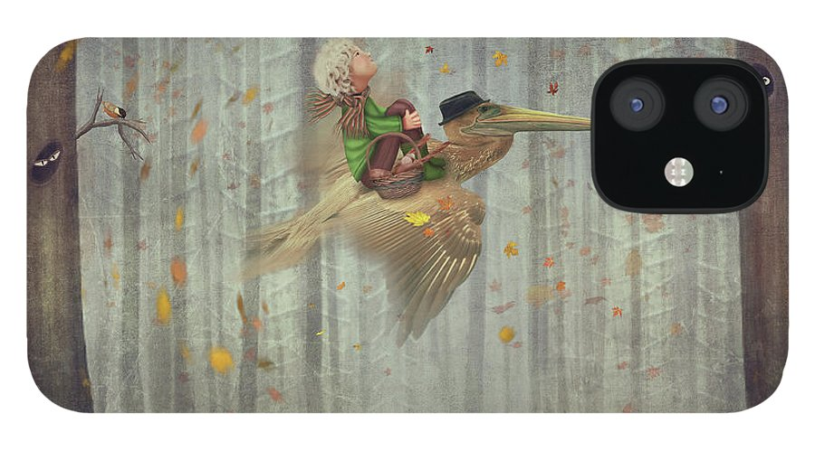 Flowerbed IPhone 12 Case featuring the digital art The Little Boy And Brown Pelican Fly by Maroznc