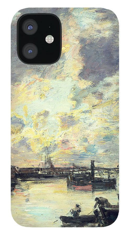 Boat IPhone 12 Case featuring the painting The Port by Eugene Louis Boudin