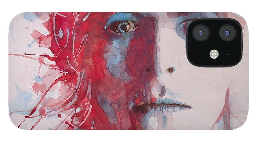 David Bowie IPhone 12 Case featuring the painting The Prettiest Star by Paul Lovering