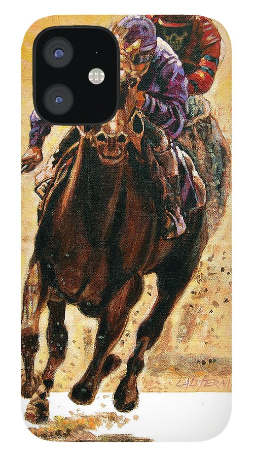 Horse IPhone 12 Case featuring the painting The Race by John Lautermilch