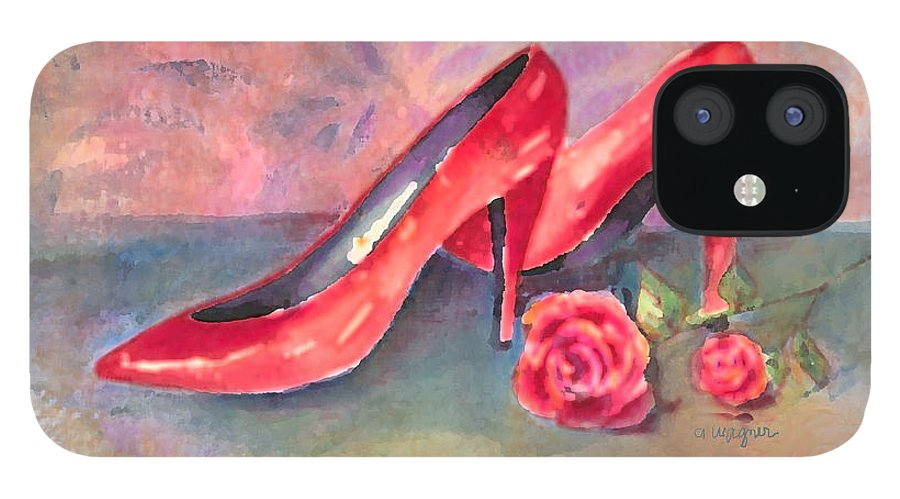 Shoe IPhone 12 Case featuring the painting The Red Shoes by Arline Wagner