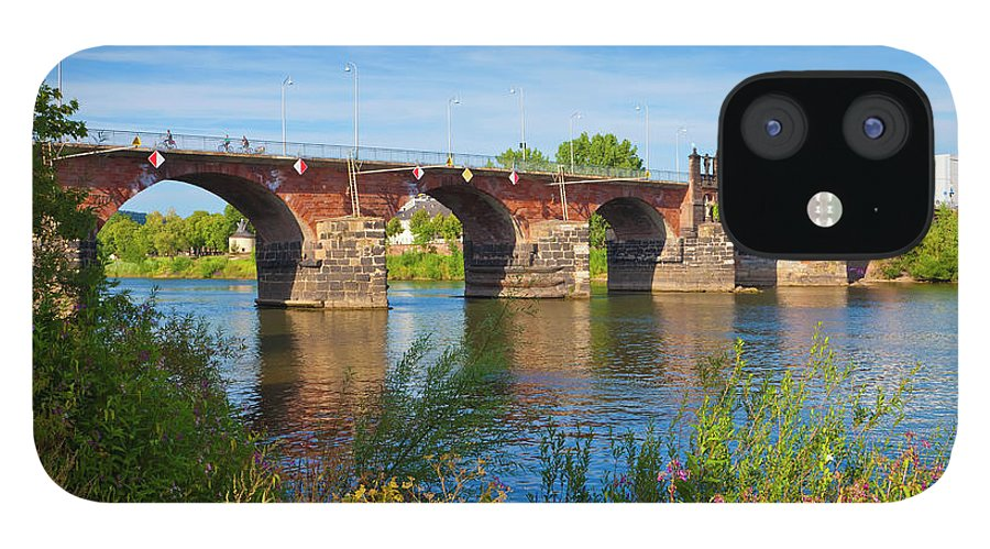 Roman IPhone 12 Case featuring the photograph The Roman Bridge Over Mosel River In by Werner Dieterich