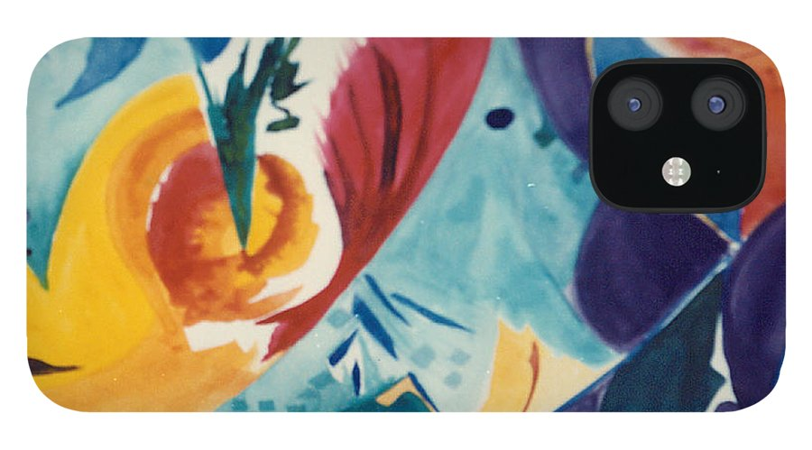 Abstract IPhone 12 Case featuring the painting The Seed by Phoenix Simpson