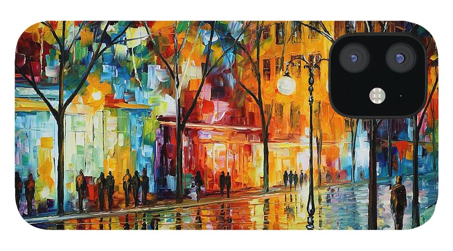 Leonid Afremov IPhone 12 Case featuring the painting The Tears Of The Fall - Palette Knife Oil Painting On Canvas By Leonid Afremov by Leonid Afremov