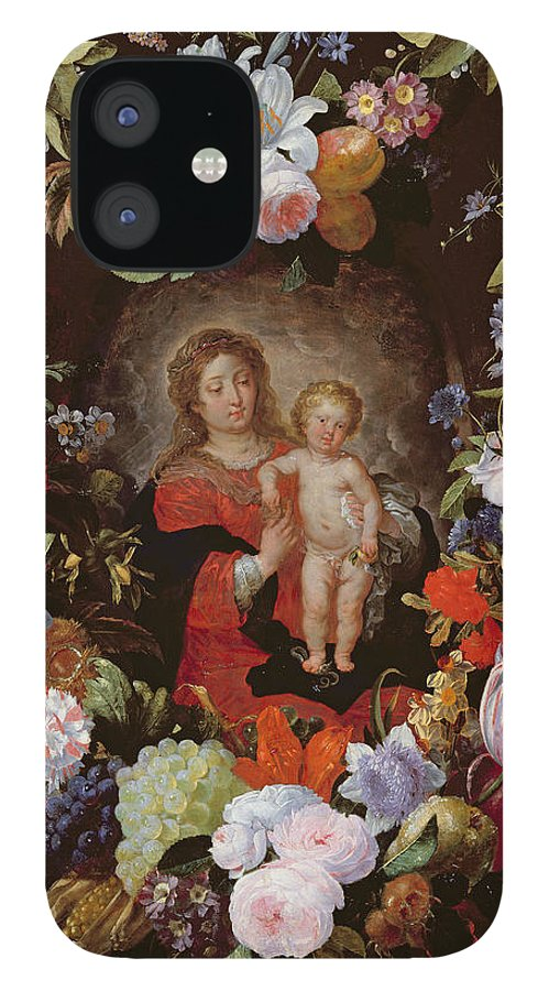 Jesus Christ IPhone 12 Case featuring the photograph The Virgin And Child With A Garland Of Flowers Oil On Panel by Gerard Seghers