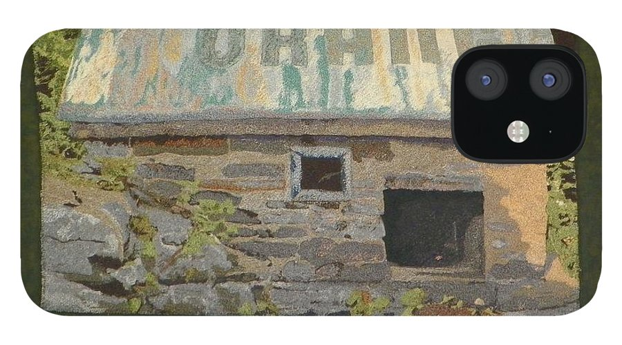 Art Quilt IPhone 12 Case featuring the mixed media The Well House by Jenny Williams