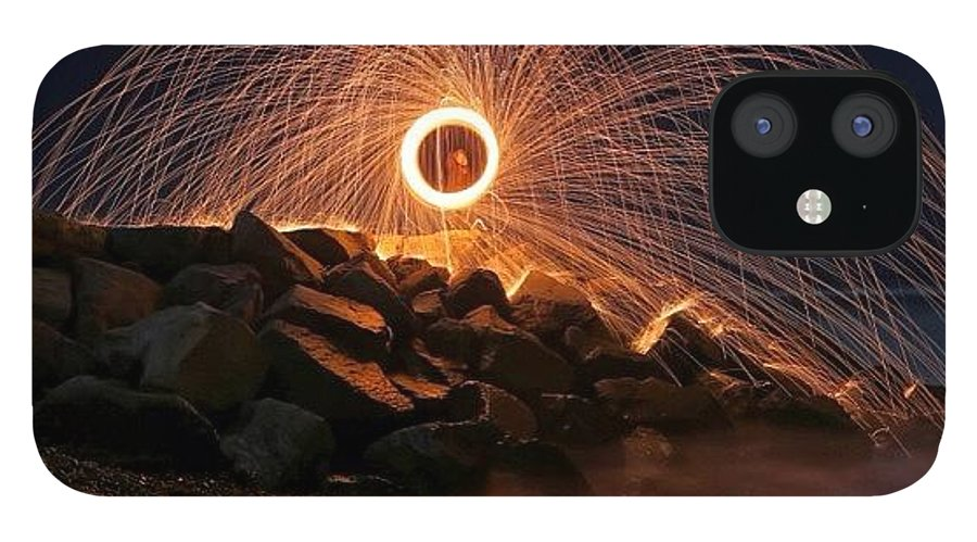 IPhone 12 Case featuring the photograph This Is A Shot Of Me Spinning Burning by Larry Marshall