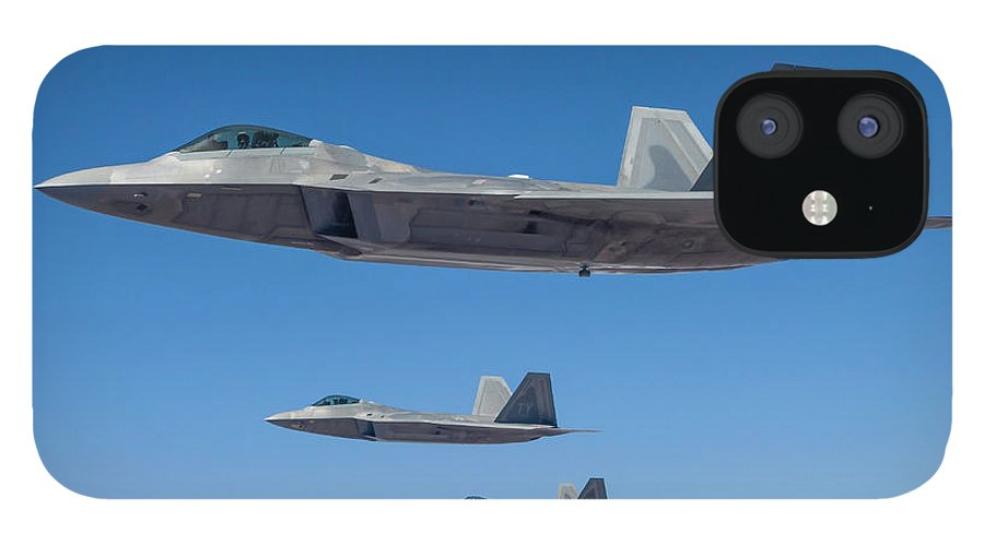 Formation Flying IPhone 12 Case featuring the photograph Three U.s. Air Force F-22 Raptors by Rob Edgcumbe/stocktrek Images