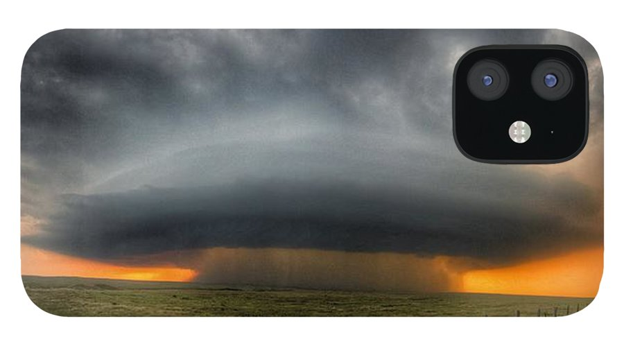 Problems IPhone 12 Case featuring the photograph Thunderstorm Over Grassy Field by Brian Harrison / Eyeem