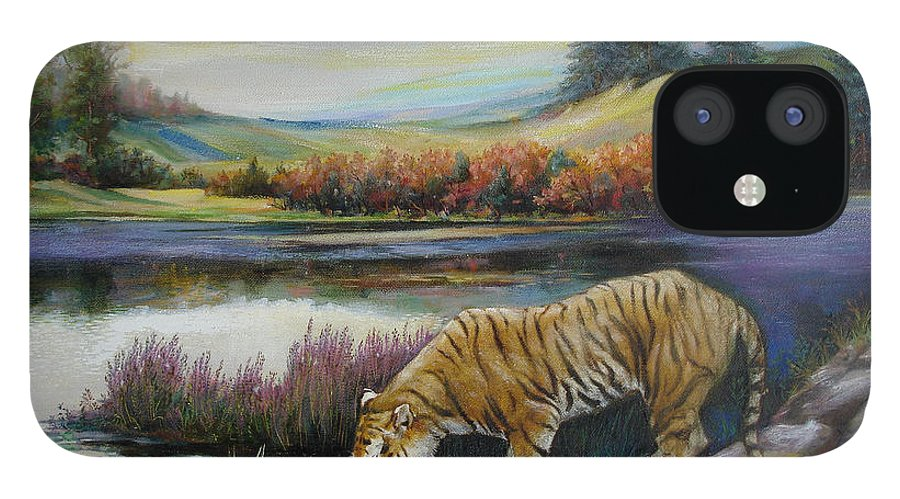 Siberian Tiger IPhone 12 Case featuring the painting Tiger by the river by Svitozar Nenyuk