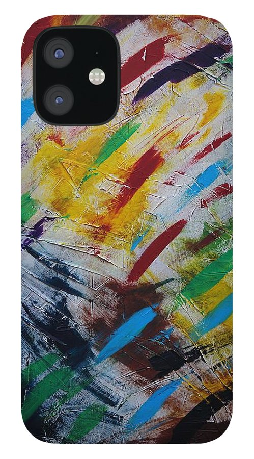 Abstract IPhone 12 Case featuring the painting Time stands still by Sergey Bezhinets