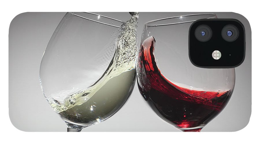 Alcohol IPhone 12 Case featuring the photograph Toasting With Glasses Of Water And Red by Dual Dual