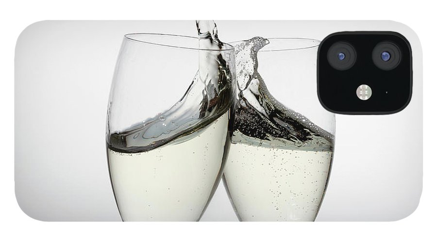 Alcohol IPhone 12 Case featuring the photograph Toasting With Two Glasses Of Champagne by Dual Dual