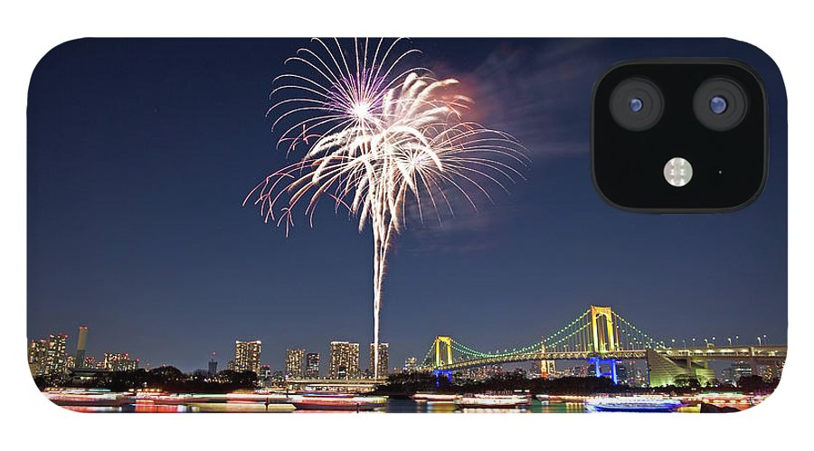 Firework Display IPhone 12 Case featuring the photograph Tokyo Bay Fireworks by Photography By Zhangxun