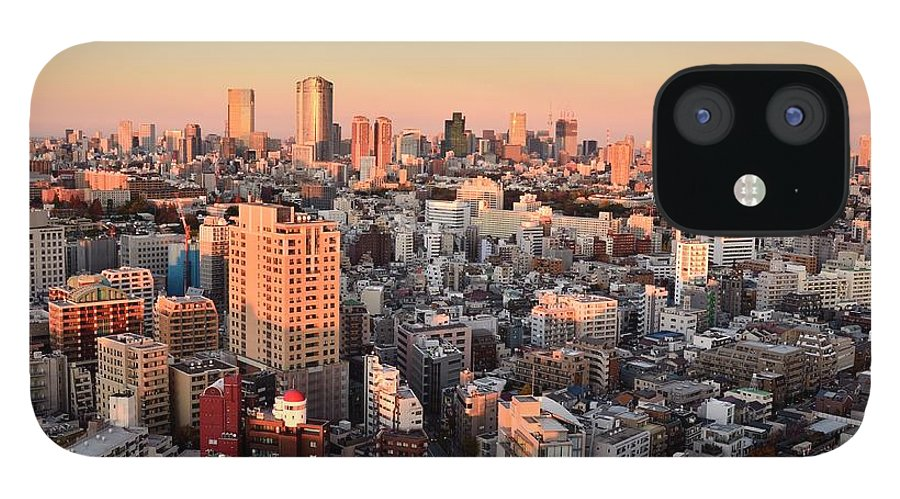 Tokyo Tower IPhone 12 Case featuring the photograph Tokyo Cityscape At Sunset by Keiko Iwabuchi