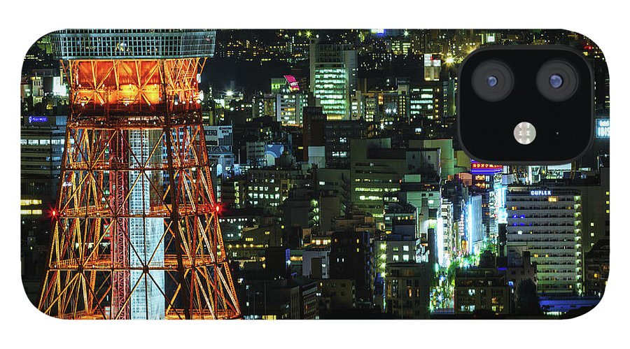 Tokyo Tower IPhone 12 Case featuring the photograph Tokyo Skyline With Tokyo Tower At Night by Sandro Bisaro