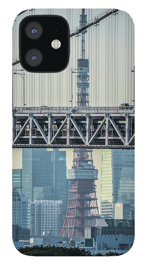 Tokyo Tower IPhone 12 Case featuring the photograph Tokyo Tower And Rainbow Bridge by Image Courtesy Trevor Dobson