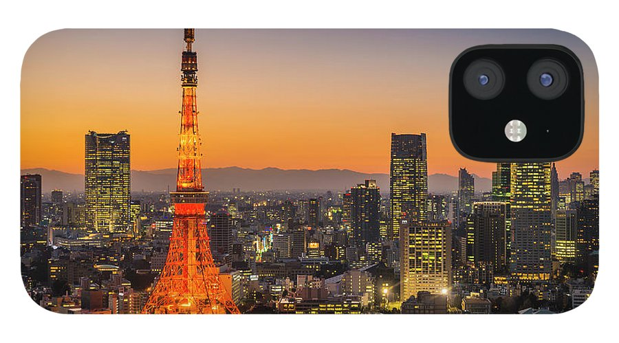 Tokyo Tower IPhone 12 Case featuring the photograph Tokyo Tower Skyscrapers Neon Futuristic by Fotovoyager