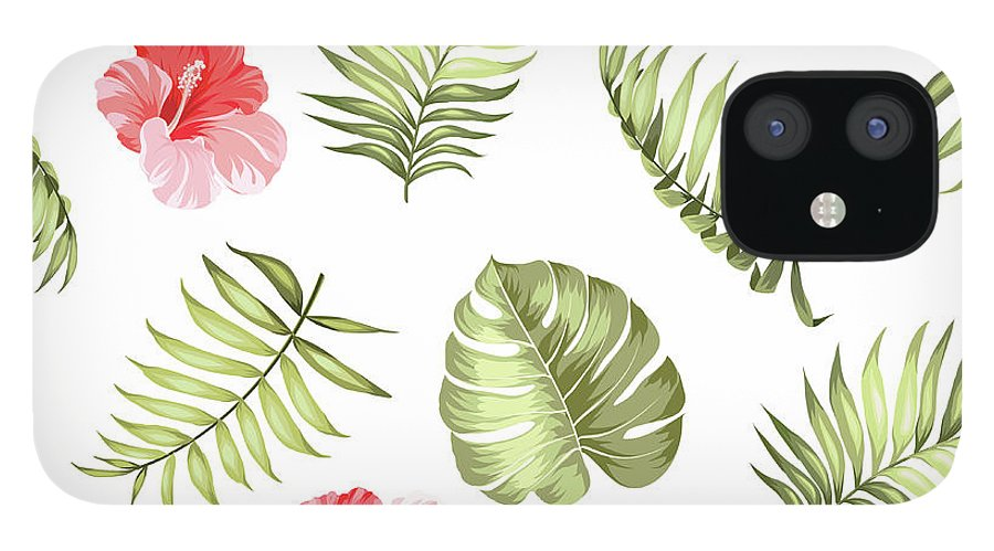 Tropical Rainforest IPhone 12 Case featuring the digital art Topical Palm Leaves Pattern by Kotkoa
