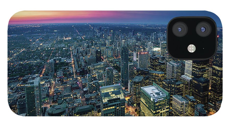 Downtown District IPhone 12 Case featuring the photograph Toronto Downtown City At Night by D3sign