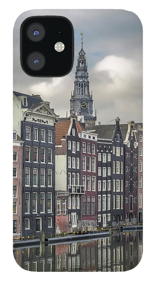 In A Row IPhone 12 Case featuring the photograph Traditional Dutch Houses Over A Canal by Buena Vista Images