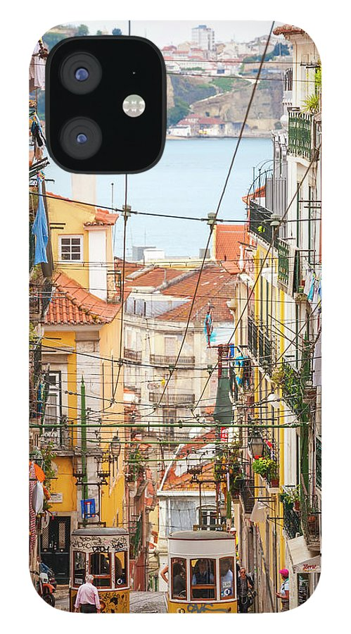 People IPhone 12 Case featuring the photograph Tram, Barrio Alto, Lisbon, Portugal by Peter Adams