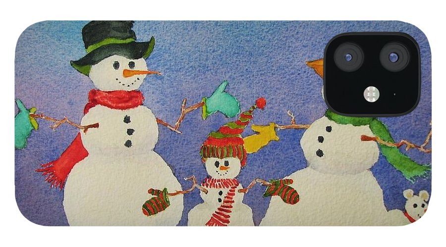 Christmas Card IPhone 12 Case featuring the painting Tres Chic by Mary Ellen Mueller Legault
