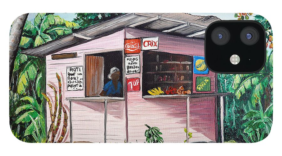 Shop Painting iPhone 12 Case featuring the painting Trini Roti Shop by Karin Dawn Kelshall- Best