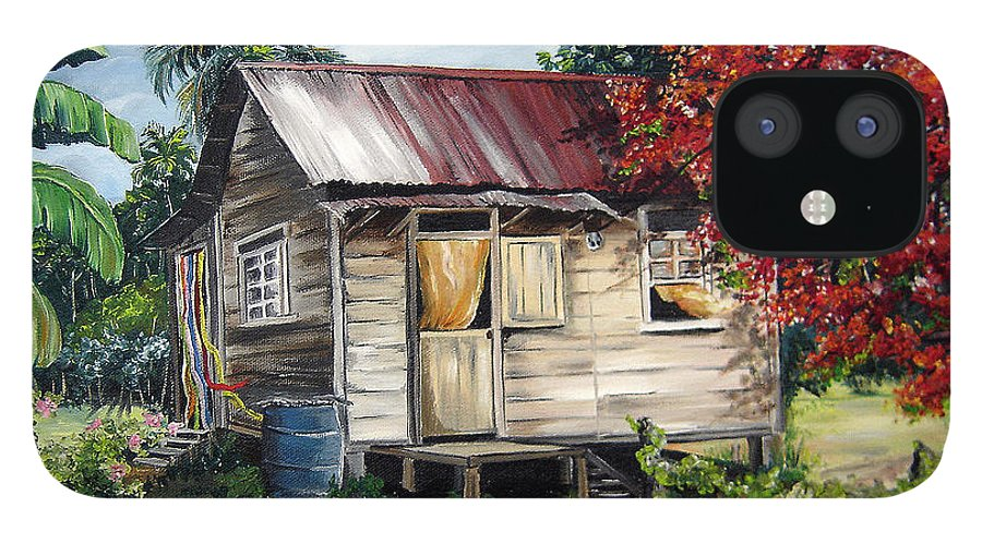 Landscape Paintings Tropical Paintings Trinidad House Paintings House Paintings Country Painting Trinidad Old Wood House Paintings Flamboyant Tree Paintings Caribbean Paintings Greeting Card Paintings Canvas Print Paintings Poster Art Paintings IPhone 12 Case featuring the painting Country Life by Karin Dawn Kelshall- Best