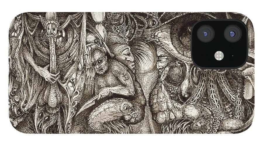 Surreal IPhone 12 Case featuring the drawing Tripping Through Bogomils Mind by Otto Rapp