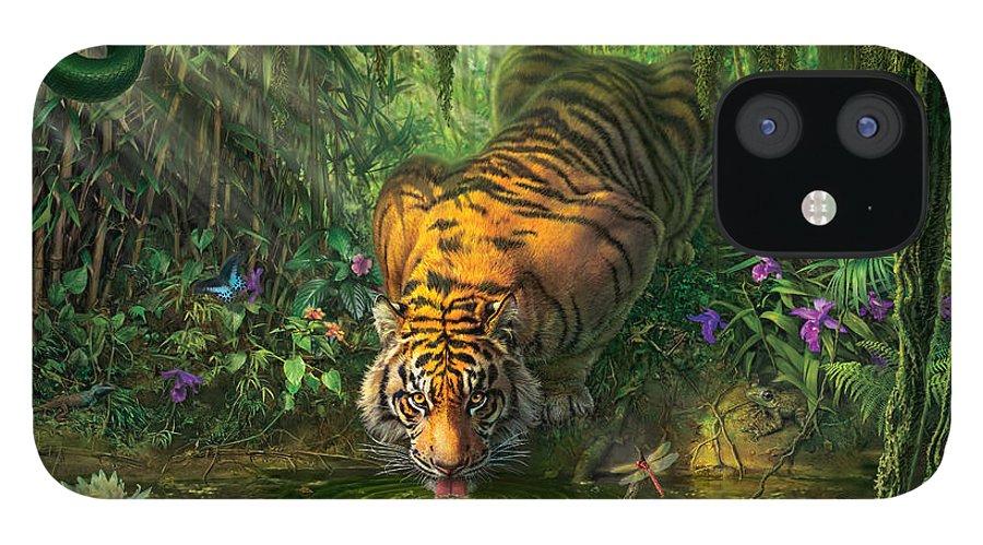 Bamboo IPhone 12 Case featuring the digital art Aurora's Garden by Mark Fredrickson