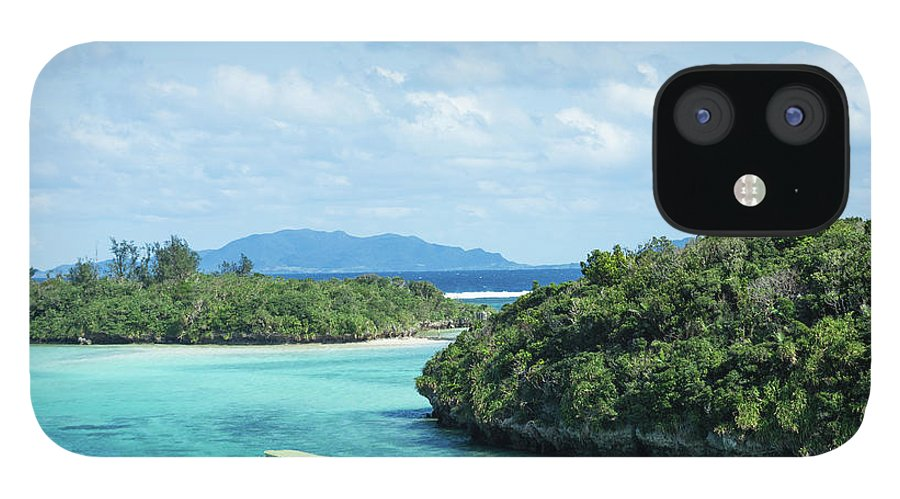 Outdoors IPhone 12 Case featuring the photograph Tropical Blue Lagoon And Lush Rock by Ippei Naoi