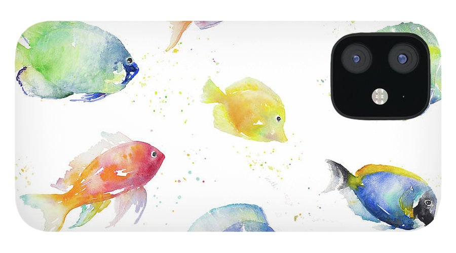 Tropical IPhone 12 Case featuring the painting Tropical Fish Round by Lanie Loreth