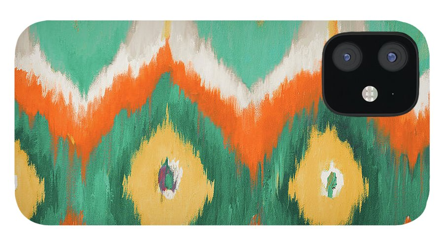 Tropical IPhone 12 Case featuring the painting Tropical Ikat II by Patricia Pinto