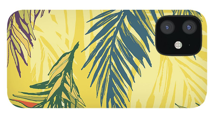 Tropical Rainforest iPhone 12 Case featuring the digital art Tropical Jungle Floral Seamless Pattern by Sv sunny