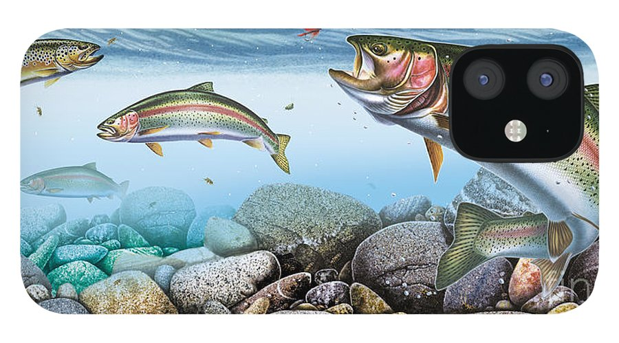 Jon Q Wright iPhone 12 Case featuring the painting Trout Stream by JQ Licensing