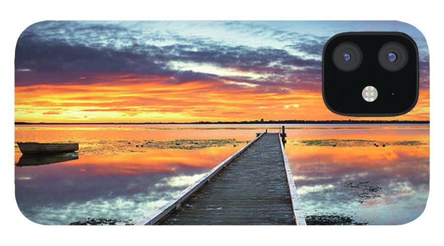 Tranquility IPhone 12 Case featuring the photograph Tuggerah Lake Jetty by Bruce Hood