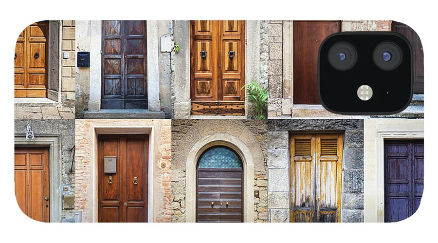 Arch IPhone 12 Case featuring the photograph Tuscan Wooden Doors, Italy by Moreiso