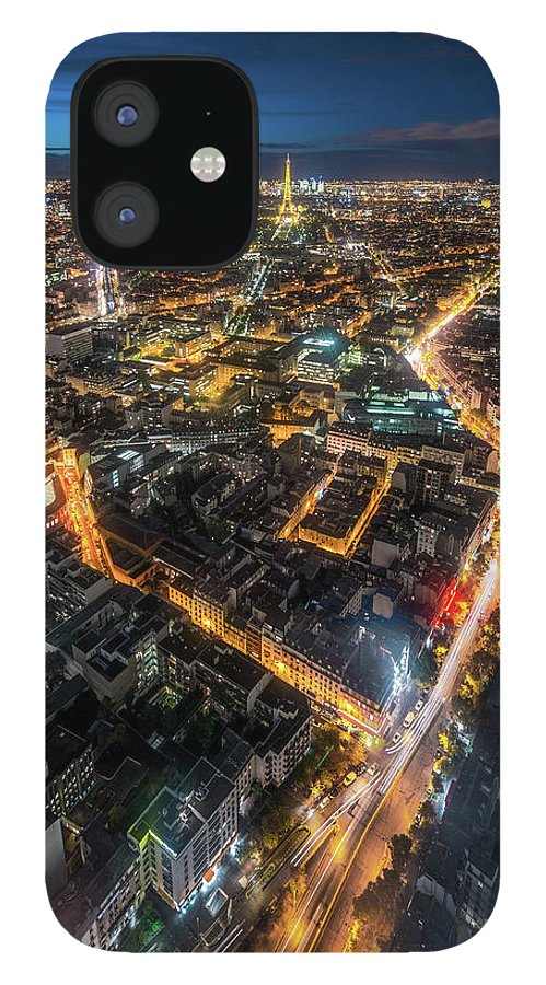 Tranquility IPhone 12 Case featuring the photograph Twilight City View Of Paris by Coolbiere Photograph