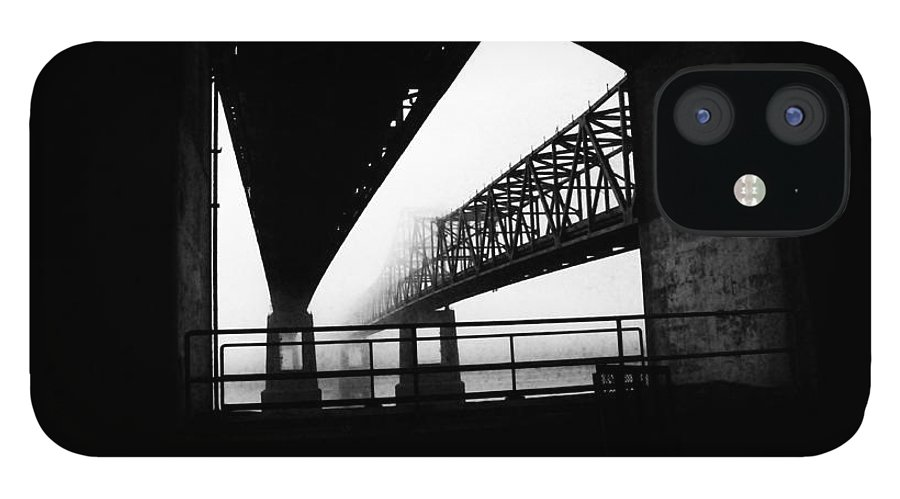 Black/white Photograph IPhone 12 Case featuring the photograph Twin Bridges by Leon Hollins III