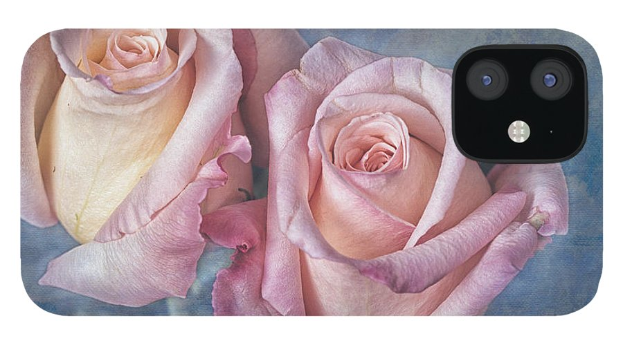 Two IPhone 12 Case featuring the photograph Two Pink Roses by Keith Gondron
