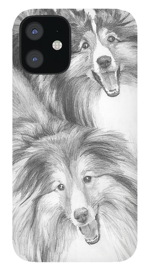 <a Href=http://miketheuer.com>www.miketheuer.com</a> Two Shelties Pencil Portrait IPhone 12 Case featuring the drawing Two Shelties Pencil Portrait by Mike Theuer