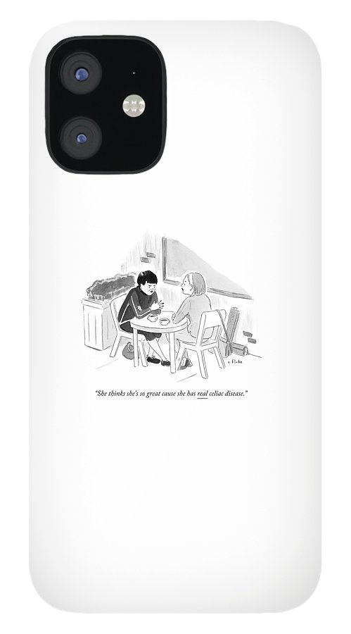 Two Women Speaking At A Coffee Shop Table IPhone 12 Case