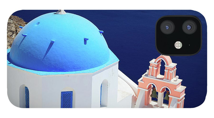 Greek Culture IPhone 12 Case featuring the photograph Typical Orthodox Greek Church In Oia by Nimu1956