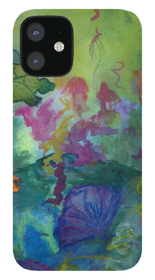Vibrant IPhone 12 Case featuring the painting Under the Sea by Phoenix Simpson